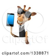 Clipart Of A 3d Business Giraffe Wearing Sunglasses And Holding A Smart Cell Phone Over A Sign Royalty Free Illustration