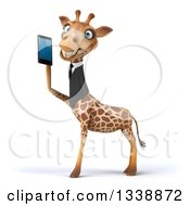Clipart Of A 3d Business Giraffe Facing Left And Holding A Smart Cell Phone Royalty Free Illustration