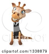 Clipart Of A 3d Business Giraffe Smiling Over A Sign Royalty Free Illustration
