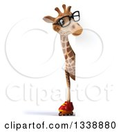 Clipart Of A 3d Full Length Bespectacled Giraffe Wearing Roller Blade Skates Looking Around A Sign Royalty Free Illustration