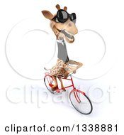 Clipart Of A 3d Business Giraffe Wearing Sunglasses And Riding A Bicycle To The Right 2 Royalty Free Illustration