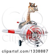 Clipart Of A 3d Bespectacled Aviator Giraffe Flying A Red And White Airplane Royalty Free Illustration