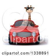 Clipart Of A 3d Giraffe Wearing Sunglasses And Driving A Red Convertible Car 5 Royalty Free Illustration