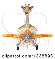 Clipart Of A 3d Aviator Giraffe Flying A Yellow Airplane Royalty Free Illustration by Julos