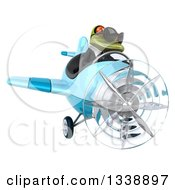 Clipart Of A 3d Aviator Green Business Springer Frog Wearing Sunglasses And Flying A Blue Airplane Royalty Free Illustration