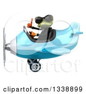 Clipart Of A 3d Aviator Green Business Springer Frog Wearing Sunglasses Giving A Thumb Up And Flying A Blue Airplane Royalty Free Illustration