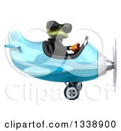 Clipart Of A 3d Aviator Green Business Springer Frog Wearing Sunglasses And Flying A Blue Airplane 2 Royalty Free Illustration