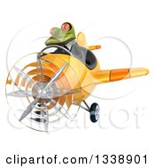 Clipart Of A 3d Aviator Green Business Springer Frog Flying A Yellow Airplane 3 Royalty Free Illustration