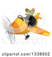 Clipart Of A 3d Aviator Green Business Springer Frog Flying A Yellow Airplane 2 Royalty Free Illustration
