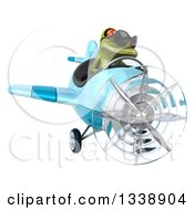 Clipart Of A 3d Aviator Green Springer Frog Wearing Sunglasses And Flying A Blue Airplane 2 Royalty Free Illustration