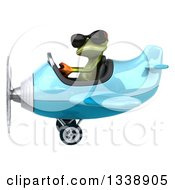 Clipart Of A 3d Aviator Green Springer Frog Wearing Sunglasses And Flying A Blue Airplane 3 Royalty Free Illustration