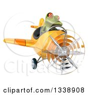 Clipart Of A 3d Aviator Green Springer Frog Flying A Yellow Airplane 2 Royalty Free Illustration