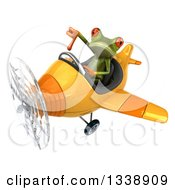 Clipart Of A 3d Aviator Green Springer Frog Giving A Thumb Down And Flying A Yellow Airplane Royalty Free Illustration