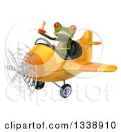 Clipart Of A 3d Aviator Green Springer Frog Giving A Thumb Up And Flying A Yellow Airplane Royalty Free Illustration