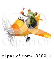 Clipart Of A 3d Aviator Green Springer Frog Giving A Thumb Up And Flying A Yellow Airplane 2 Royalty Free Illustration