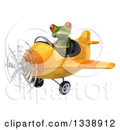 Clipart Of A 3d Aviator Green Springer Frog Flying A Yellow Airplane 4 Royalty Free Illustration