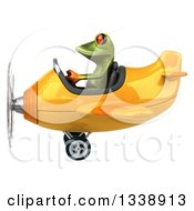 Clipart Of A 3d Aviator Green Springer Frog Flying A Yellow Airplane 3 Royalty Free Illustration