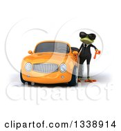 Clipart Of A 3d Green Business Springer Frog Wearing Sunglasses And Giving A Thumb Down By An Orange Convertible Car Royalty Free Illustration