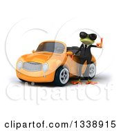 Clipart Of A 3d Green Business Springer Frog Wearing Sunglasses And Giving A Thumb Up By An Orange Convertible Car Royalty Free Illustration