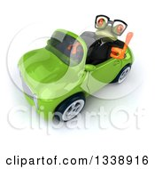 Clipart Of A 3d Bespectacled Green Business Springer Frog Holding Up A Thumb And Driving A Green Convertible Car Royalty Free Illustration