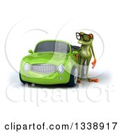 Clipart Of A 3d Bespectacled Green Springer Frog Standing By A Yellow Convertible Car Royalty Free Illustration