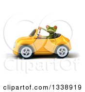 Clipart Of A 3d Green Springer Frog Giving A Thumb Down And Driving A Yellow Convertible Car Royalty Free Illustration