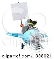 Clipart Of A 3d Aviator Green Business Springer Frog Wearing Sunglasses Holding A Blank Sign And Flying A Blue Airplane 2 Royalty Free Illustration