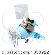 Clipart Of A 3d Aviator Green Business Springer Frog Wearing Sunglasses Holding A Blank Sign And Flying A Blue Airplane Royalty Free Illustration