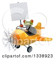 Clipart Of A 3d Aviator Green Business Springer Frog Holding A Blank Sign And Flying A Yellow Airplane Royalty Free Illustration