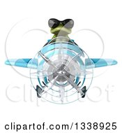 Clipart Of A 3d Aviator Green Springer Frog Wearing Sunglasses And Flying A Blue Airplane Royalty Free Illustration