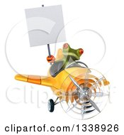 Clipart Of A 3d Aviator Green Springer Frog Holding A Blank Sign And Flying A Yellow Airplane Royalty Free Illustration