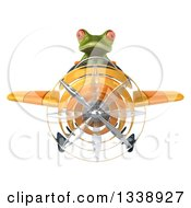 Clipart Of A 3d Aviator Green Springer Frog Flying A Yellow Airplane Royalty Free Illustration