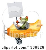 Clipart Of A 3d Aviator Green Springer Frog Holding A Blank Sign And Flying A Yellow Airplane 2 Royalty Free Illustration