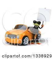 Clipart Of A 3d Green Business Springer Frog Holding A Blank Sign By An Orange Convertible Car Royalty Free Illustration