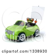 Clipart Of A 3d Bespectacled Green Business Springer Frog Holding Up A Blank Sign And Driving A Green Convertible Car Royalty Free Illustration