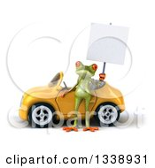 Clipart Of A 3d Green Springer Frog Holding A Blank Sign By A Yellow Convertible Car Royalty Free Illustration