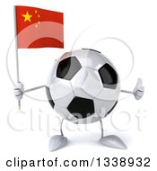Clipart Of A 3d Soccer Ball Character Holding A Chinese Flag And Giving A Thumb Up Royalty Free Illustration