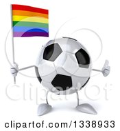 Clipart Of A 3d Soccer Ball Character Holding A Rainbow Flag And Giving A Thumb Up Royalty Free Illustration