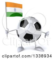 Clipart Of A 3d Soccer Ball Character Holding An Indian Flag And Giving A Thumb Down Royalty Free Illustration