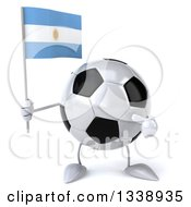 Clipart Of A 3d Soccer Ball Character Holding And Pointing To An Argentine Flag Royalty Free Illustration