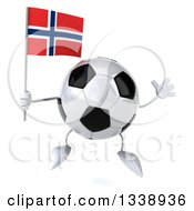 Clipart Of A 3d Soccer Ball Character Holding A Norwegian Flag And Jumping Royalty Free Illustration
