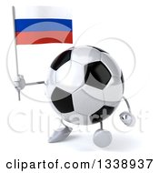 Clipart Of A 3d Soccer Ball Character Holding A Russian Flag And Walking Royalty Free Illustration