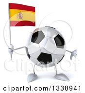 Clipart Of A 3d Soccer Ball Character Holding A Spanish Flag And Giving A Thumb Down Royalty Free Illustration