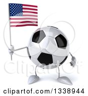 Clipart Of A 3d Soccer Ball Character Holding An American Flag Royalty Free Illustration