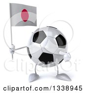 Clipart Of A 3d Soccer Ball Character Holding And Pointing To A Japanese Flag Royalty Free Illustration