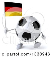 Clipart Of A 3d Soccer Ball Character Holding A German Flag And Walking Royalty Free Illustration