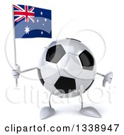 Clipart Of A 3d Soccer Ball Character Holding An Australian Flag And Giving A Thumb Down Royalty Free Illustration