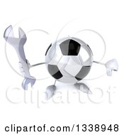 Clipart Of A 3d Soccer Ball Character Holding Up A Wrench And Thumb Down Royalty Free Illustration