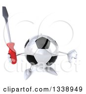 Clipart Of A 3d Soccer Ball Character Holding Up A Screwdriver And Thumb Down Royalty Free Illustration