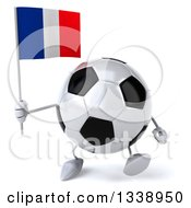 Clipart Of A 3d Soccer Ball Character Holding A French Flag And Walking Royalty Free Illustration